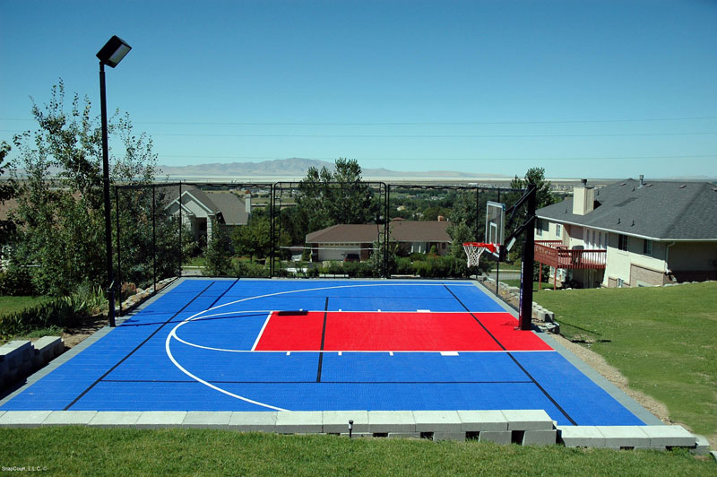 Backyard basketball court black and grey backyard for Basketball sport court cost
