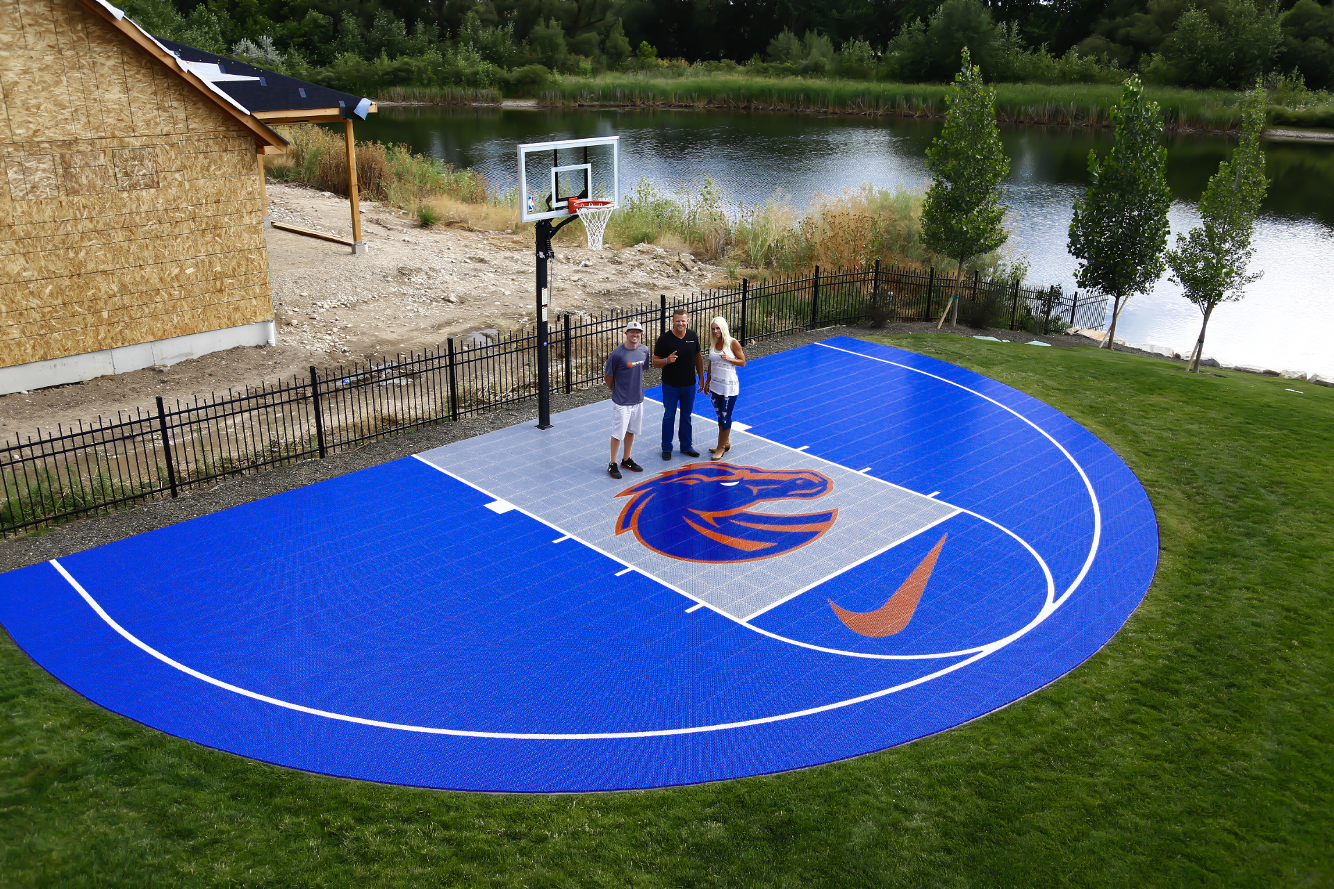 Halfcourt for boise state head football coach bryan for Sport court utah